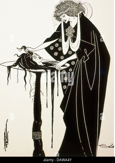 fine arts, Beardsley, Aubrey (1872 - 1898), print, illustration for the play 'Salome' by Oscar Wilde, England, - Stock Image