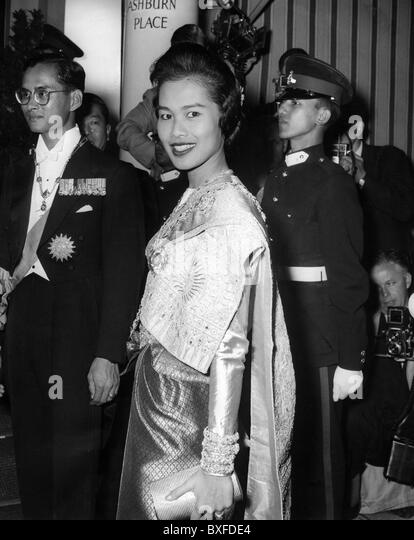 Rama IX. Bhumibol Adulyadai, * 5.12.1927, King of Thailand since  9.6.1946, state visit to Great Britain, wife Queen - Stock Image