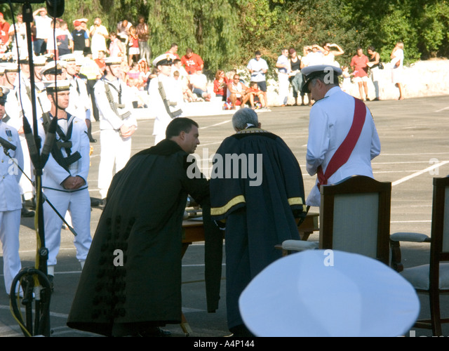 First Sea Lord Admiral Sir Alan West wearing the red sash accepts the Honorary Freedom of the City of Gibraltar - Stock Image