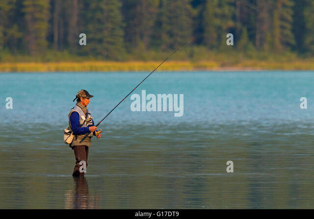 Angling casting stock photos angling casting stock for Fishing in banff