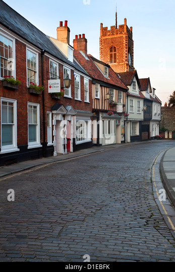 St. Georges Tombland and Princes Street at dusk, Norwich, Norfolk, England, United Kingdom, Europe - Stock Image