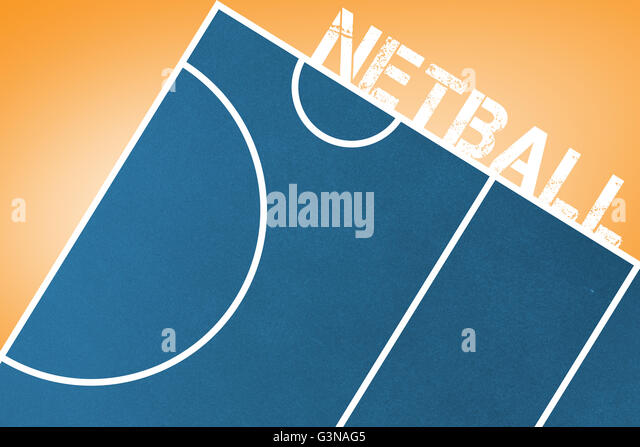 Netball message written in white - Stock Image