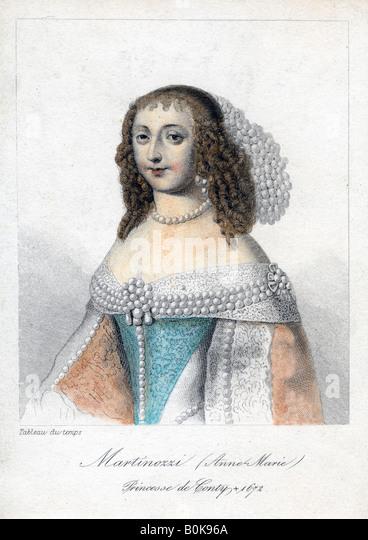 Anne Marie Martinozzi, 17th century Italian-born French aristocrat.  Artist: Unknown - Stock Image