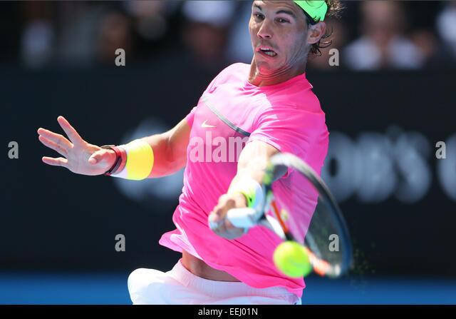 Melbourne, Australia. 19th Jan, 2015. Rafael Nadal (ESP) Tennis : the 2015 Australian Open tennis tournament Men's - Stock-Bilder