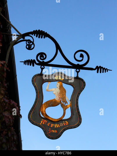 Sign at the Mermaid Inn, Rye, East Sussex - Stock Image