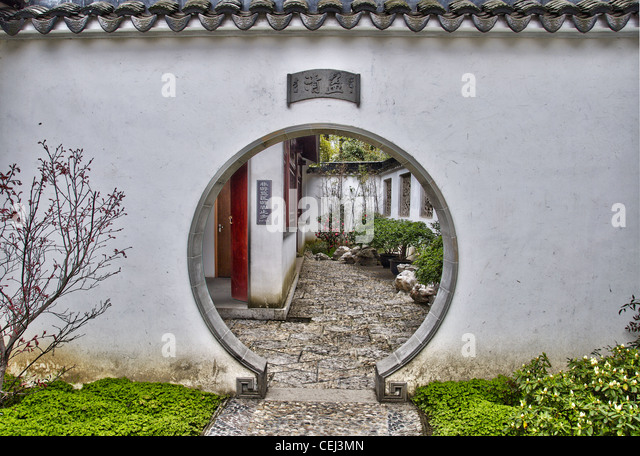A round door at Humble administrator's garden - Suzhou (china) - Stock Image