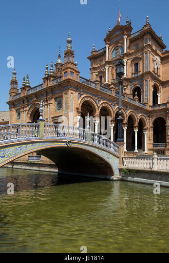 Plaza de Espana in the city of Seville in the Andalusia region of Spain. UNESCO World Heritage Site. - Stock Image