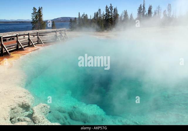 Black Pool, West Thumb Geyser Basin, Yellowstone National Park, Wyoming - Stock Image
