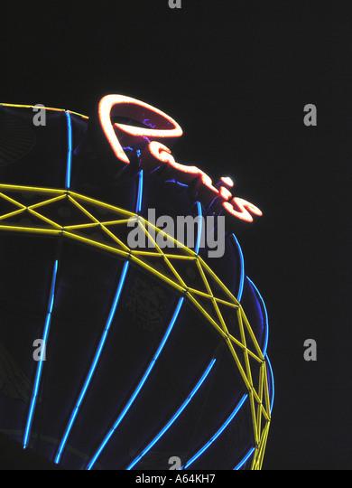 Las Vegas Paris Hotel Casino balloon at night - Stock Image