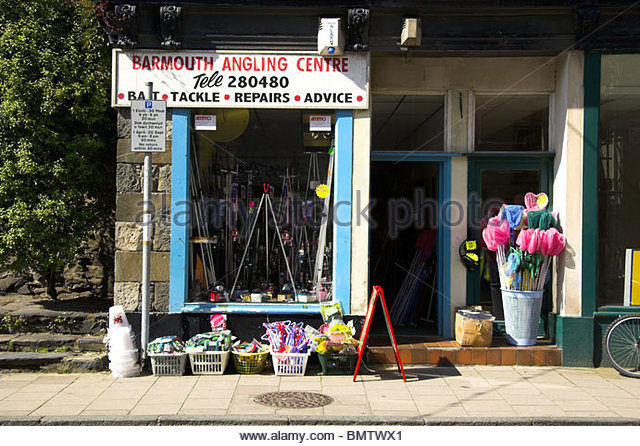 An angling shop in Barmouth town centre, Gwynedd, Wales, UK. - Stock Image