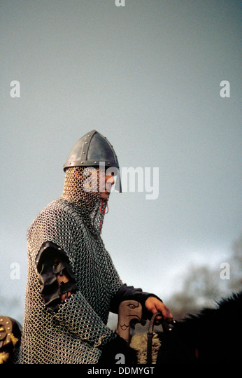 Knight on horseback, from a battle re-enactment.  Artist: Geoffrey Davis - Stock Image