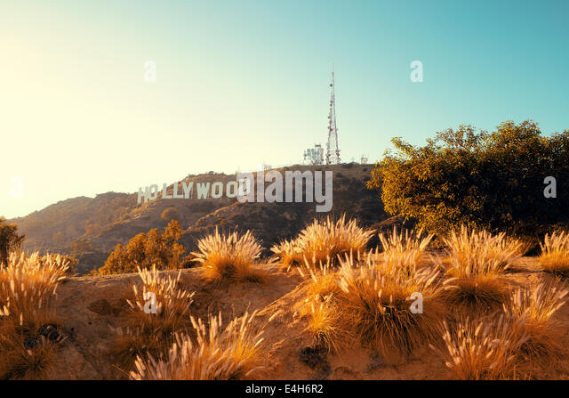 Los Angeles, CA - MAY 18: Hollywood sign on mountain on May 18, 2014 in Los Angeles. Originated as a real estate - Stock Image