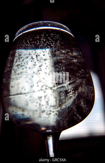 Carbon Dioxide Bubbles In The Glass - Stock Image
