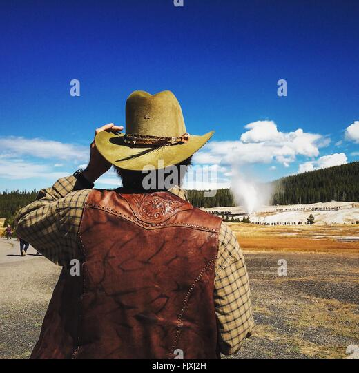 Rear View Of Cowboy On Field Against Blue Sky - Stock Image