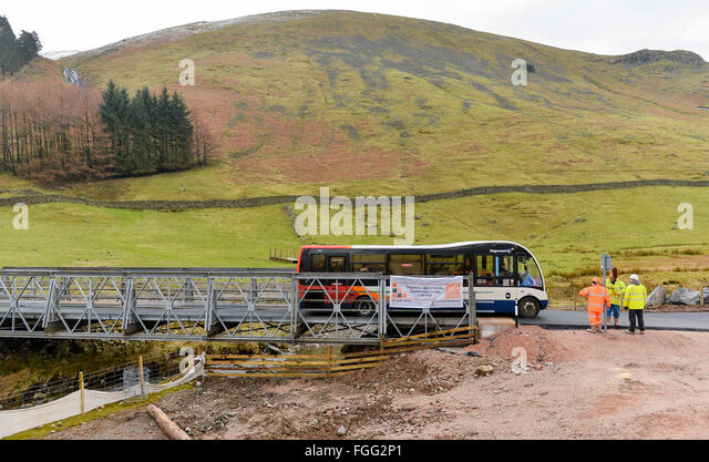 Temporary bridging spanning two becks at Dunmail Riase, Thirlmere in the Lake District, Cumbria. Road built after - Stock Image