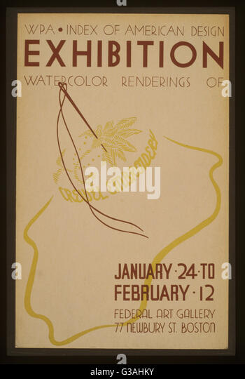 WPA Index of American Design exhibition Watercolor renderings of crewel embroidery. Poster announcing exhibition - Stock-Bilder