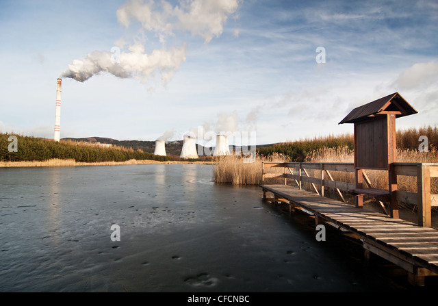 the power station Prunerov in winter time - Czech Republic - Stock Image
