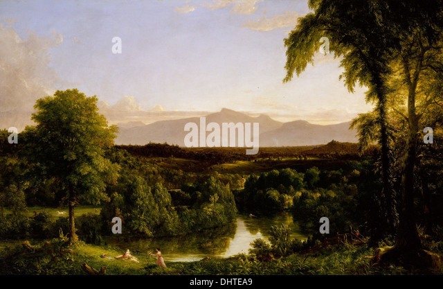 View on the Catskill - Early Autumn - by Thomas Cole, 1837, Hudson River School - Stock Image