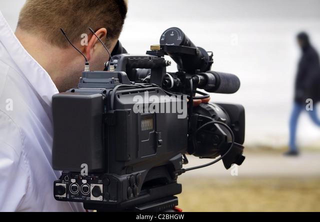 tv reportage - Stock Image