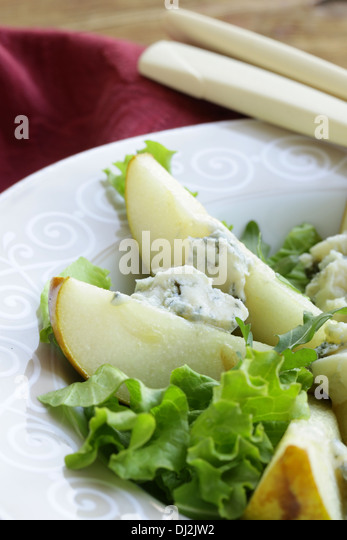 gourmet salad with pear and blue cheese - Stock Image