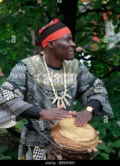 Germany Berlin Carnival of Cultures african musician drummer - Stock-Bilder