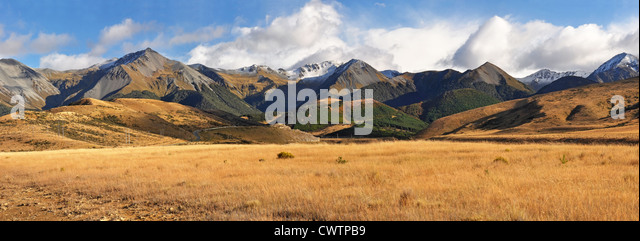 Panoramic view of the autumn colours of high country Canterbury, New Zealand. - Stock Image