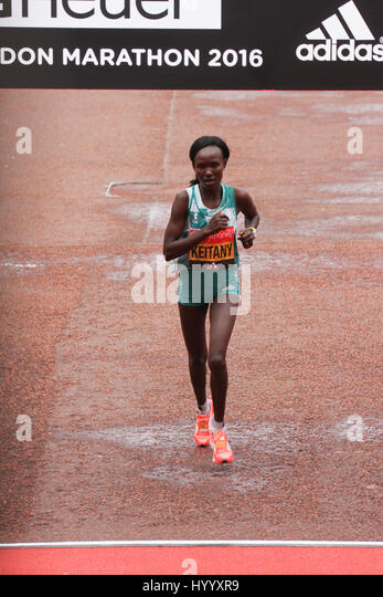 ​​​London, UK 24 April 2016. Mary Keitany races to finish ninth at the Virgin Money London Marathon at a time of2:28:30. - Stock Image