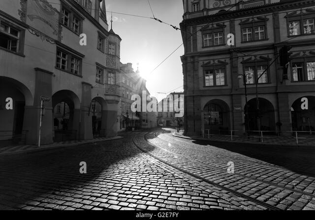Cobblestone Streets and Old Buildings at Dawn, Malonstrankse Namesti, Prague, Czech Republic - Stock Image