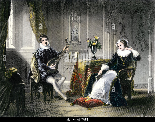 Mary Queen of Scots courted by Chatelar - Stock Image