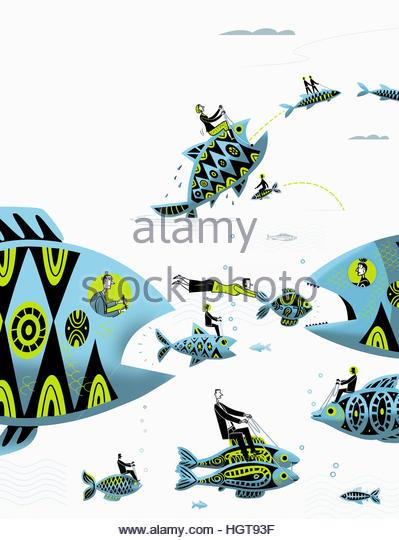 Businessmen and businesswomen controlling large fish chasing small fish - Stock-Bilder