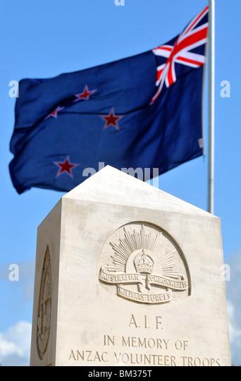 Anzac Volunteer troops memorial with Australian flag - Stock Image