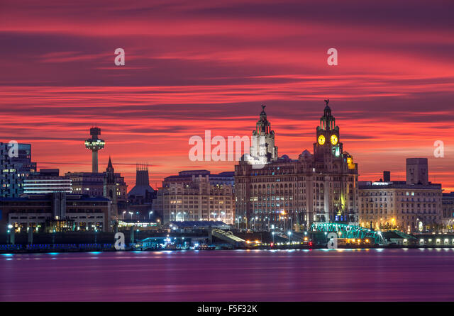 The Liverpool City Skyline with blood red sky, Liverpool, Merseyside, England, UK - Stock Image