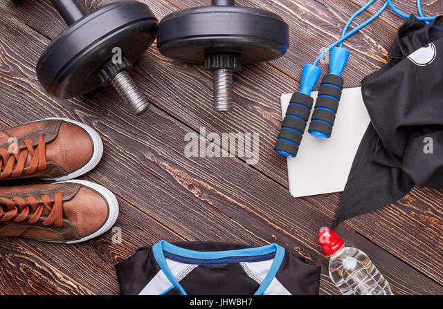 Weightlifting background, vintage wooden floor. - Stock Image