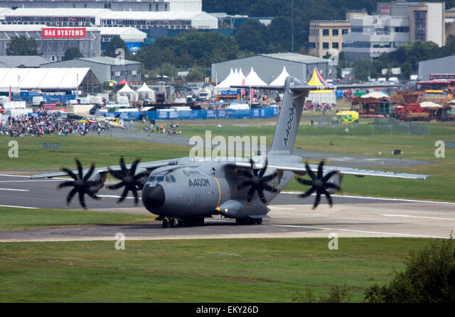 Airbus A400M Atlas military transport aircraft at Farnborough International Airshow 2014, UK - Stock Image