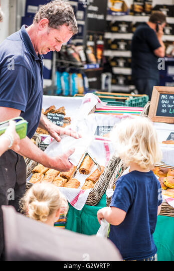 PLYMOUTH, ENGLAND - JUNE 3, 2016 Flavour Fest is bigest outdoor food festival in south-west England. Local farmers - Stock Image