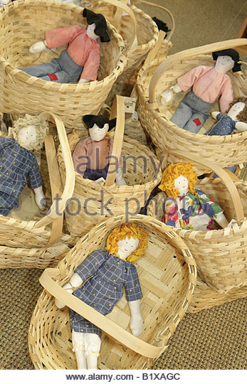 Arkansas Little Rock Historic Arkansas Museum gift shop handcraft arts and crafts rag doll basket regional toy cloth - Stock Image