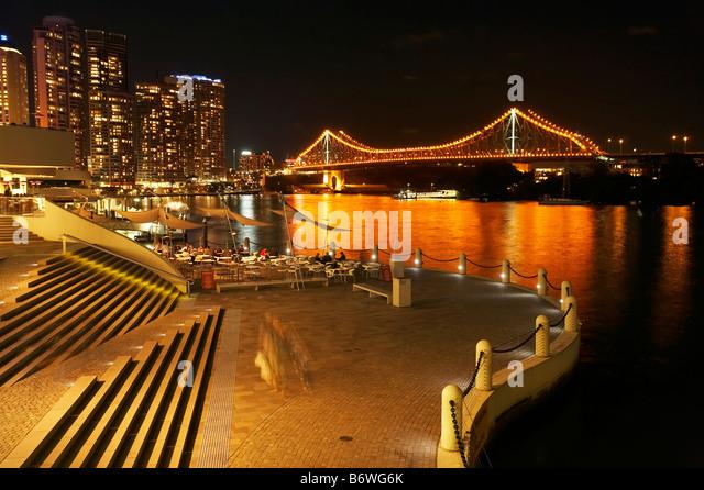 Brisbane Waterfront Brisbane River and Story Bridge at Night Brisbane Queensland Australia - Stock Image