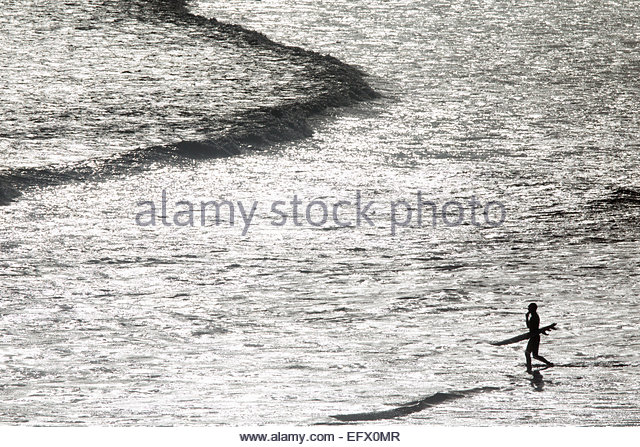 Surfer carrying surf board, wading out to sea - Stock Image