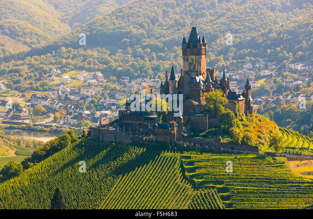 Reichsburg Cochem Castle is more than a castle. It is the largest hill-castle on the Mosel river, Germany. - Stock Image
