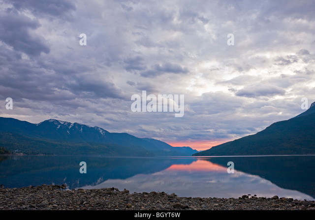 Slocan Lake at sunset from the town of New Denver, Slocan Valley, Central Kootenay, British Columbia, Canada. - Stock Image