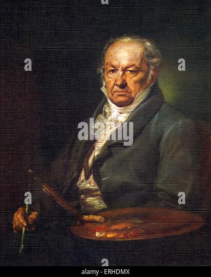 Goya ' s portrait by Vicente Lopez (1772-1850). Francisco Jose de Goya y Lucientes: Spanish painter, 1746-1828. - Stock-Bilder