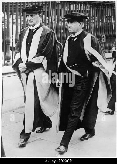 Prime Minister Stanley Baldwin with Viscount Grey after Receiving Honorary Degrees from Cambridge University, England, - Stock Image