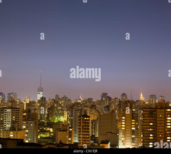 Sao Paulo cityscape at dusk, Brazil. - Stock Image