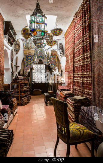Tangier, Morocco - August 20, 2014:  Antiques dealer and souvenirs shop indoors, Tangier, Morocco - Stock Image