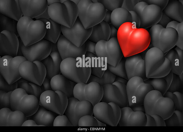 Valentines day background with a group of grey hearts and one red shiny heart as a valentine symbol for romance - Stock Image