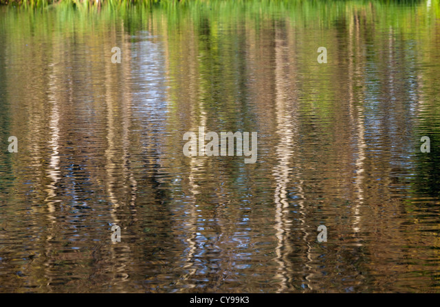 Abstract reflections in the River Thames at Sonning, Berkshire, UK - Stock Image