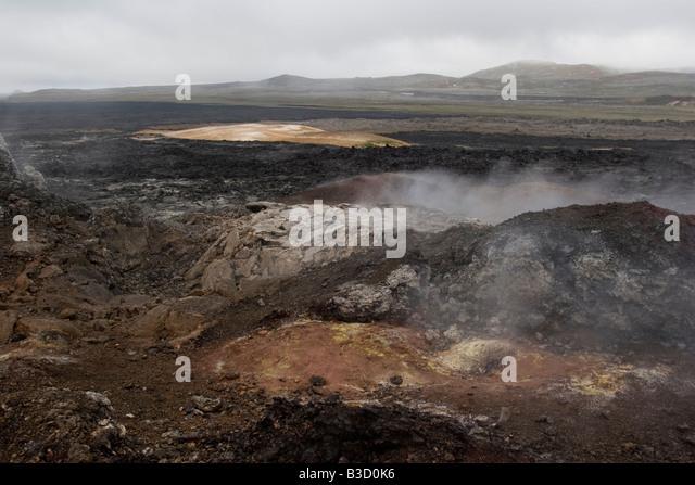 Lava field in the area of Krafla, Myvatn lake, Iceland. - Stock-Bilder