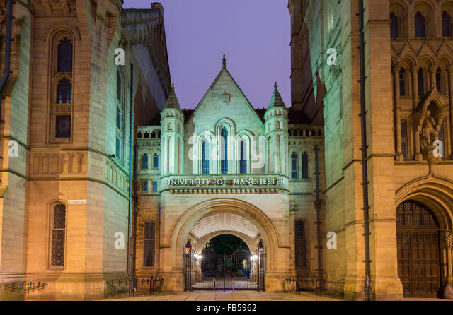 The University of Manchester entrance at night, Oxford Road, Manchester - Stock Image