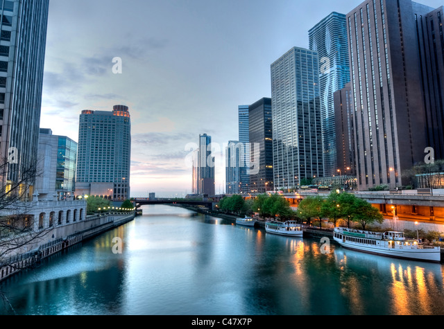 HDR of Downtown Chicago in the Early Morning. - Stock Image