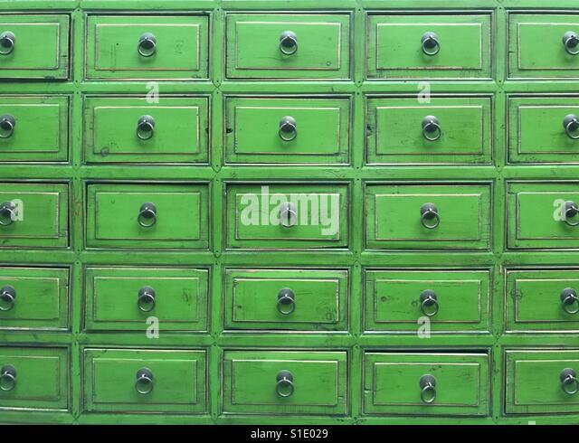 Green drawers - Stock-Bilder